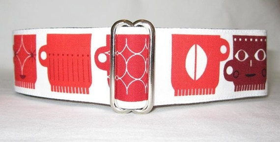 MEDIUM ONLY Coffee Lover Martingale Dog Collar -1.5 Inch -Red black white slate gray java mug cups