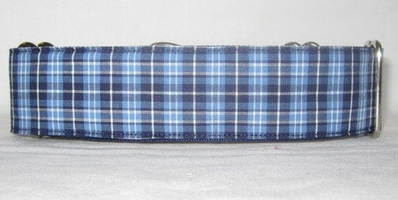 Blue Plaid Martingale Dog Collar - 1.5 Inch - navy blue white