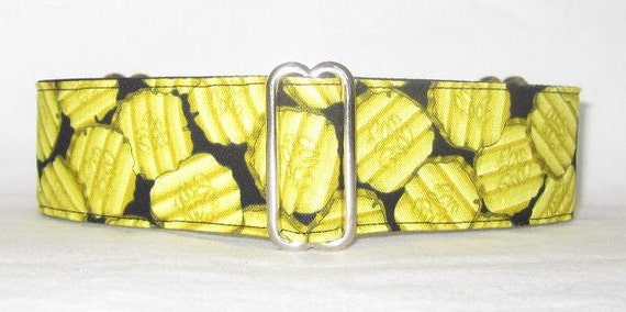 Pickles Martingale Dog Collar - 2 Inch - green black food snack dill slice chips topping