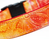 Custom Dog Collar - Hawaiian Sunset - Yellow Orange Red Dog Collar with Flowers