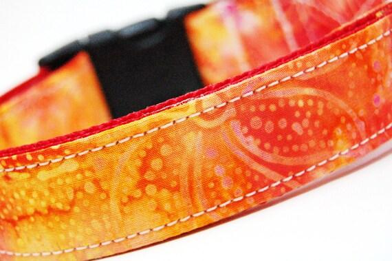 Custom Dog Collar - Hawaiian Sunset - Yellow Orange Red Dog Collar with Flowers
