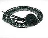 Leather wrap black labradorite double wrap stack bracelet masculine for him