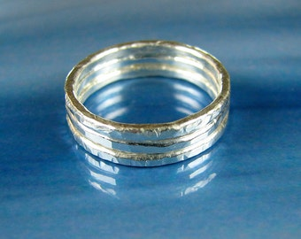 Silver stacking rings fine silver hammered minimalist skinny organic rings