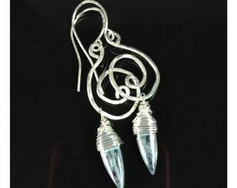 Silver swirl Blue Kyanite stone dangle wire wrapped funky fun earrings