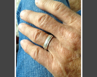 For Him silver stack rings rugged simple minimal elegant wedding band past present future