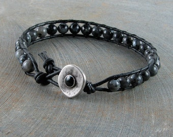 Leather wrap bracelet labradorite black leather single wrap stacking