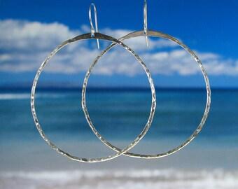 Fine silver hoop earrings super hoops hoopsies big hoops bangle hoops