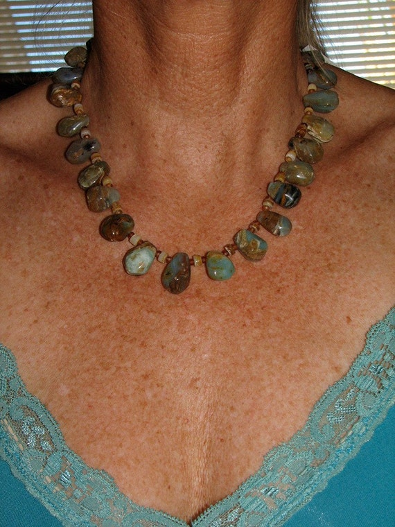 SALE Chunky Peruvian Blue Opal necklace with earrings