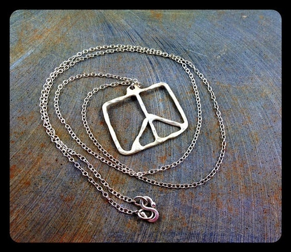 Peace symbol pendant square peace fine silver hammered organic long necklace