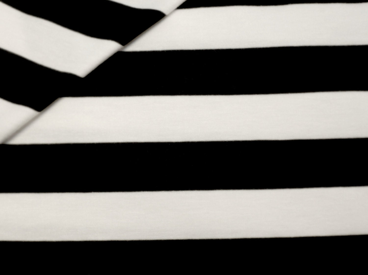 Black And White Striped Cotton Lycra Jersey Knit Fabric