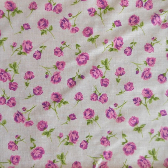 Purple Rose Print Cotton Fabric, Flowers on White Background, 2 Yards