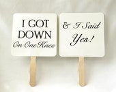Set of Save the Date Engagement Picture Signs - I Got Down On One Knee I Said Yes Engagement Photo Prop She Said Yes Bridal Photo Booth Prop