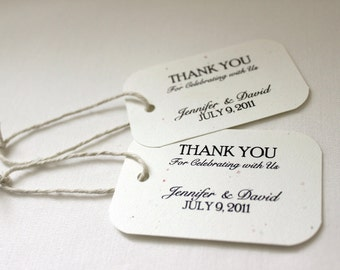 100 Wedding Favor Gift Tags - Classic; Thank You for Celebrating with Us Customized name hang tag packaging bridal shower bridesmaid gift
