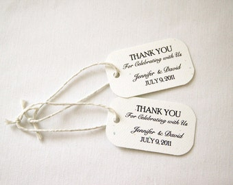 100 Mini Wedding Favor Gift Tags - Classic; Thank You Celebrating with Us Customized name hang tag packaging bridal shower bridesmaid gift