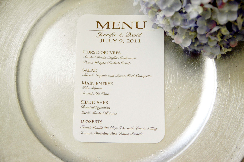 24 custom wedding reception menu cards for Menu reception amis