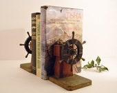 Vintage Book Ends Bakelite Brass Walnut Ships Wheel BIG SALE