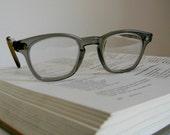 Vintage Eyeglasses Gray Grey Horned AO American Optical Steampunk Mad Men Unisex Clear Lenses