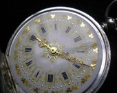 Reserved for A -- Spectacular Victorian enamelled dial GRAPEVINE pocket watch - 1890 - SERVICED