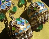 KREMLIN EARRING sterling enameled antique ancient inspired  emerald  gold dome