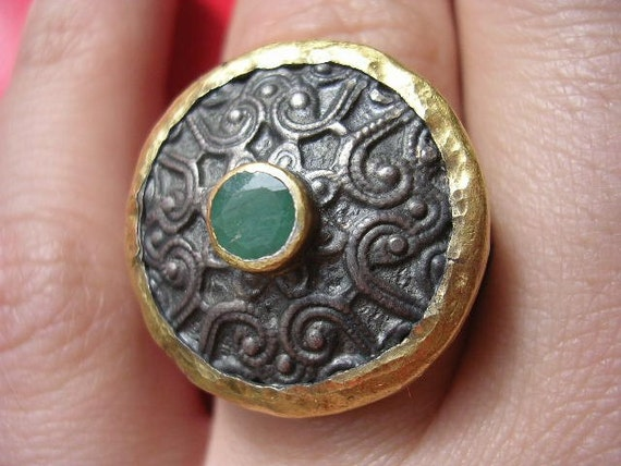 BYZANTION RING artisan emerald ethnic sterling silver ring