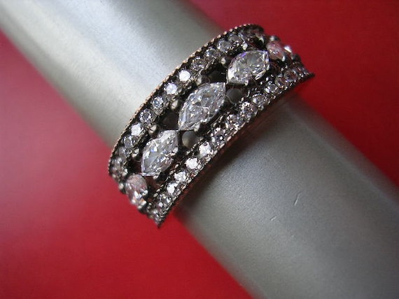 SHEHRAZADE RING   mid century antique diamond inspired sterling rose gold