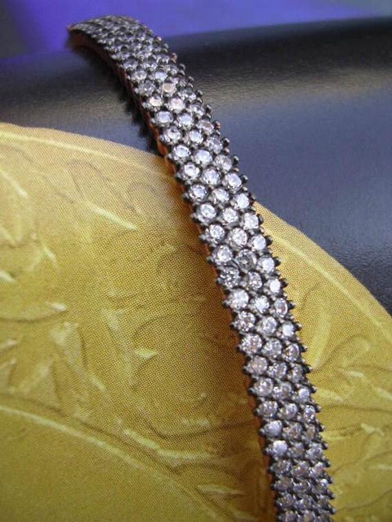 PETRA  BRACELET mid century vintage diamond inspired sterling  bracelet
