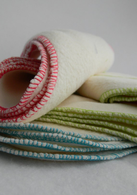 wipes or washcloths ... organic cotton sherpa with colourful edges... set of 24