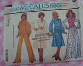 McCalls Pattern 5882 Misses Pullover Dress or Long Sleeve Top & Gathered Peplum Vest Size 12 Bust 34 Vintage 1970s Sewing Carefree