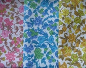A Set of 3 Vintage Fabric Remnants..Pink, Blue and Yellow Floral Fabric Remnants