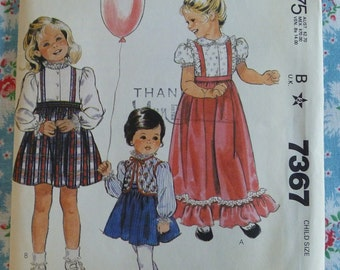 McCalls Pattern 7367 Girls Blouse, Skirt and Vest..Size 4 Vintage Sewing Pattern 1980s