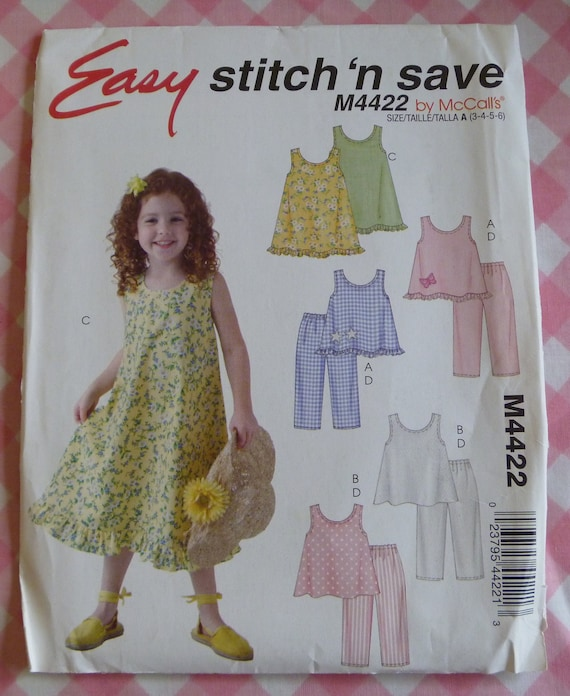 UNCUT 2004 Easy to Stitch and Save McCalls Pattern..M4422..Girls Tops, Dress and Pants..Sizes 3-6