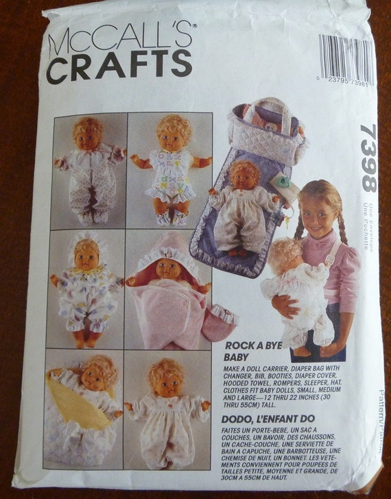 1994 McCalls Crafts Pattern..7398..Doll Clothes Pattern for Dolls 12 Inches to 22 Inches