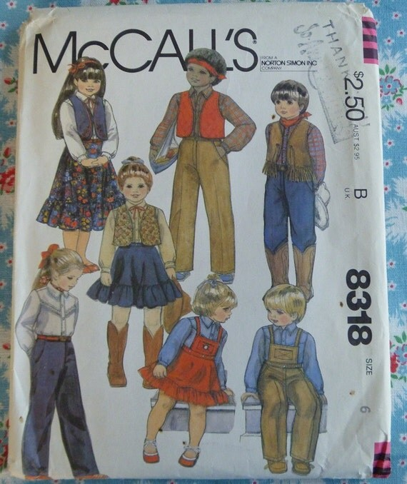 Vintage 1982 McCalls Pattern..8318..Childrens Vest, Skirt, Pants and Shirt..Size 6