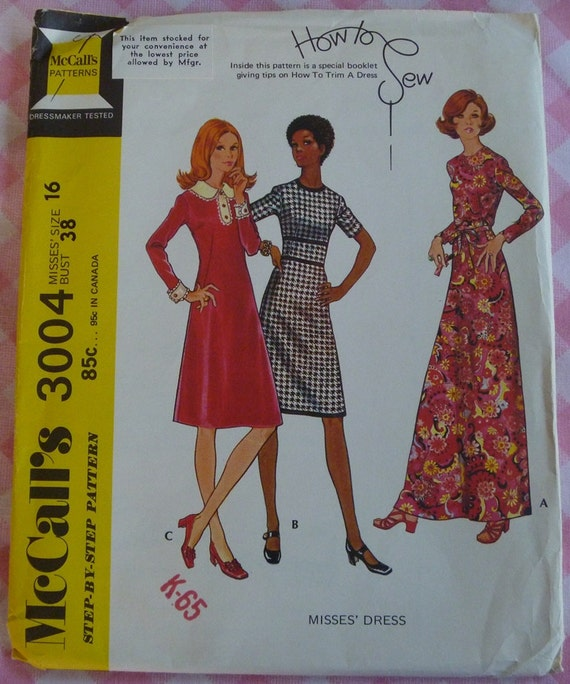 UNCUT Vintage 1971 McCalls Pattern 3004..How to Sew Misses Dress Pattern..Size 16 and Bust 38