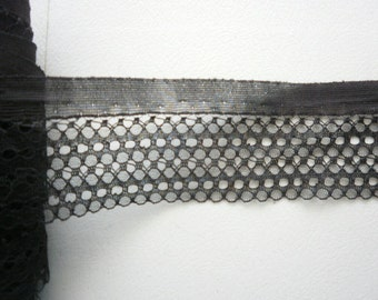 Vintage  Black 2 1/4 inch  netting or beading   Lingerie lace 5 yds 1075