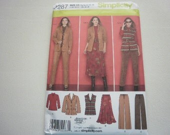 Pattern Ladies Skirts Pants Top Vest Jacket Sz 10-18 Simplicity 2287