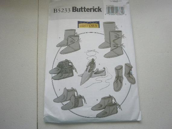 Pattern Historical Footware 7 styles shoe size 5-13 Uncut Butterick 5233