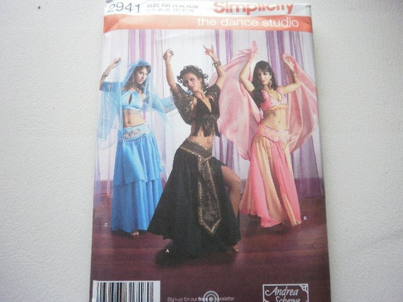 Pattern Cosume Belly Dancer 3 styles Sz 6 to 12 Uncut Simplicity 2941