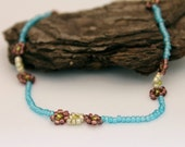 Dainty Flower Choker- Light blue, Purple,and Gold Seedbeads