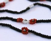 Dainty Flower Choker- Black,Red and White Seedbeads