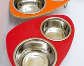 Raised Pet Feeder  with double stainless steel bowls and aluminum v-legs SMALL 4-6 inches - ModPet