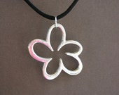 Large Oxidized Silver Flower on Black Satin Cord Necklace - Casual - Everyday wear - Best friend Gift