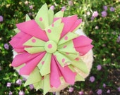 Pattern Confetti Betty Large Pinwheel Fabric Flower Hair Clip brooch for toddlers, girls, women. NO sewing machine needed. PDF Tutorial