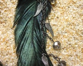 Dark Angel Feather and Hematite Chain Earrings