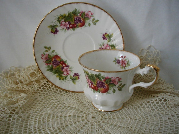 Vintage English Bone Fine China  Cup and Saucer Fruit Pattern Gold Trim