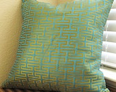 One of a kind Teal Blue Pillow Cover - Geometric Zig Zag Design in Gold - 18 X 18 in Throw / Cushion Cover