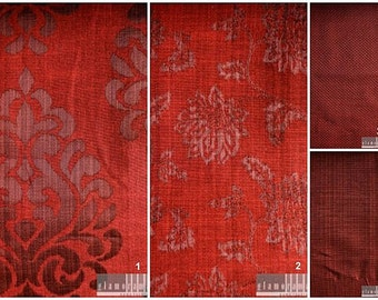 Custom Drapes with Modern Damask / Stripe / Check Print in Maroon 44X84in Curtain Panel