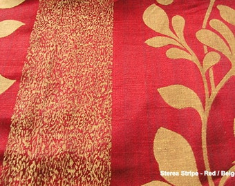 Custom Curtains with Burgundy / Gold Damask Pattern by lushlivings