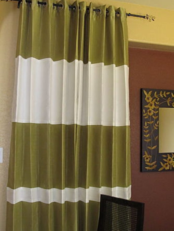 Two tier Curtains with asymmetric solid bands in any two colors of your choice drapes in custom lengths