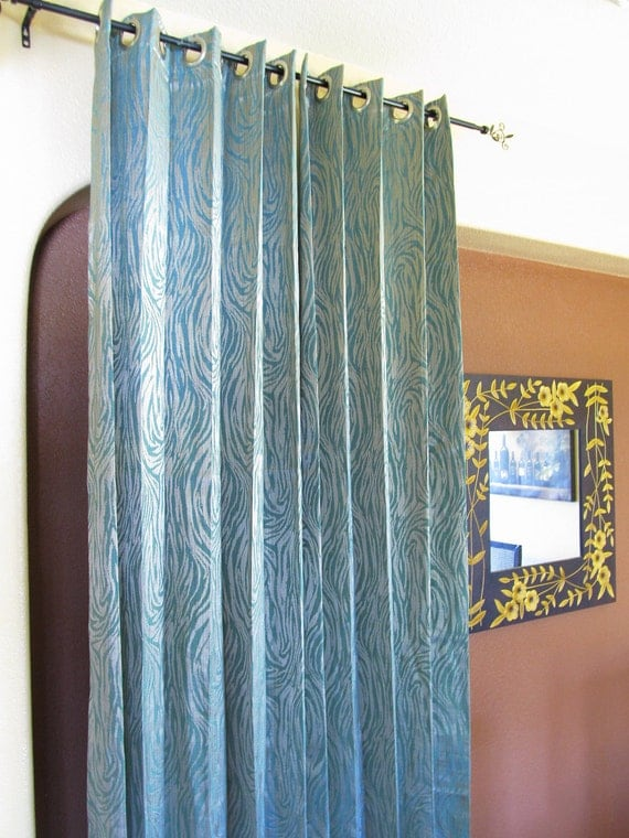 animal print grommet curtains aqua blue silver 2 44in x 96in